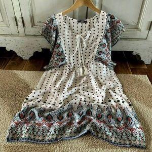 Tassel Tie Boho Print Dress S L NWT